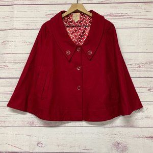 Tulle Women's Cape Red White 27in. Buttons Lined L